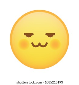 Weird pervert emoji with cat mouth expression vector isolated