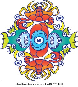 Weird sea creatures such as crabs, fish and octopuses with bulging eyes and sharp teeth aligning in a symmetrical pattern design. They form a colorful decorative motif in a playful doodle art style