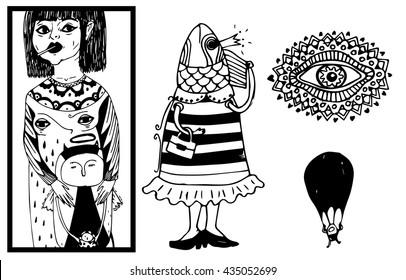 Weirdos random illustrations: girl with little devil, boho doodle mhendi eye, parachutist and a fish woman