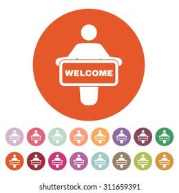 The welcom icon. Invite symbol. Flat Vector illustration. Button Set