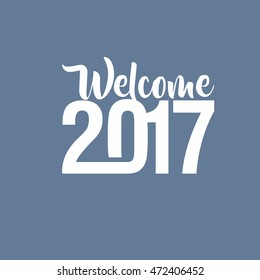 Welcome 2017 Creative numbers Happy new year creative design for your greetings card, flyers, invitation, posters, brochure, banners, Chinese New Year blue background