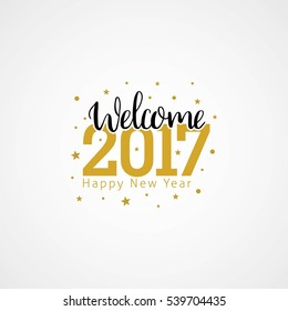Welcome 2017 Creative numbers, Happy new year creative design for your greetings card, flyers, invitation, posters, brochure and banner. Vector Illustration