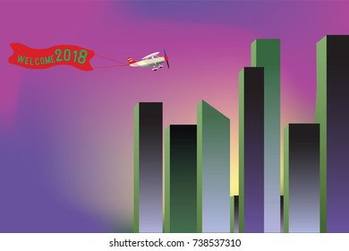 Welcome 2018 , Vector flat big city and landmark building , Airplane with poster. Plane with banner.