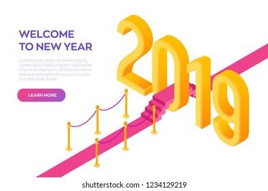 Welcome 2019 Isometric Creative numbers. Red carpet to the 2019 New Year. Path to New Year. Creative design for your greetings card, flyers, posters, brochure and banner. Vector Illustration.