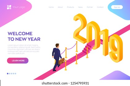 Welcome 2019. New Year. Path to New Year. Businessman with briefcase in hand walking on red carpet to the 2019 New Year. Creative Idea. Vector Illustration.