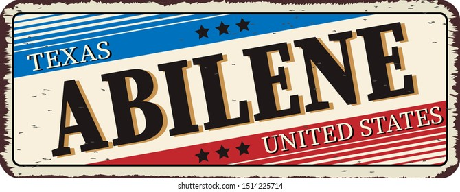 welcome to Abilene texas - Vector illustration - vintage rusty metal sign