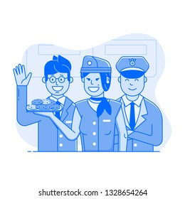 Welcome aboard concept with flight attendants in working uniform. Aircraft or cabin crew with steward, pilot and smiling stewardess offering cookies. Air travel illustration for UI in flat design.