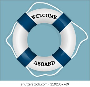 """Welcome Aboard"" lifebuoy. Vector Illustration"