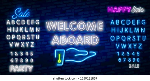 Welcome Aboard Neon Text Vector. Welcome neon sign, design template, modern trend design, night neon signboard, night bright advertising, light banner, light art. Vector illustration
