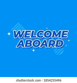 Welcome aboard new joining hiring flat vector label icon background