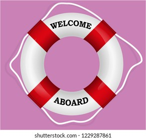 """Welcome Aboard"" red lifebuoy. Vector Illustration"