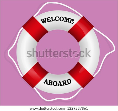 9e1a3d6a7d8c Welcome Aboard Red Lifebuoy Vector Illustration Stock Vector ...