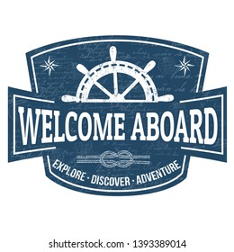 Welcome aboard sign or stamp on white background, vector illustration