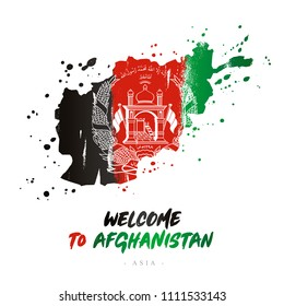 Welcome to Afghanistan. Asia. Flag and map of the country of Afghanistan from brush strokes. Lettering. Vector illustration on white background.