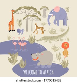 Welcome to africa banner. Vector illustration with river, african animals, birds and plants. Cartoon images in a flat style.