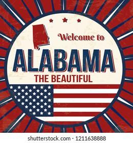 Welcome to Alabama vintage grunge poster, vector illustrator