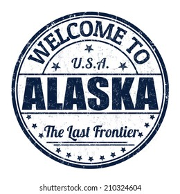 Welcome to Alaska grunge rubber stamp on white background, vector illustration