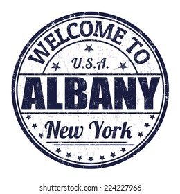 Welcome to Albany grunge rubber stamp on white background, vector illustration