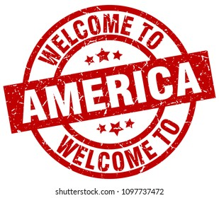 welcome to America red stamp