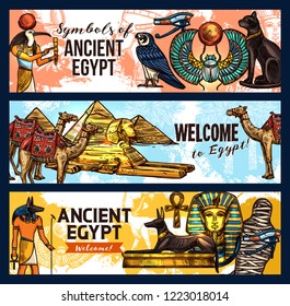 Welcome to ancient Egypt vector banners. Pharaohs statues and mummy, Ra god and sphinx, Great pyramids and camel, black cat and hawk, luxor treasure symbol and dog on tomb