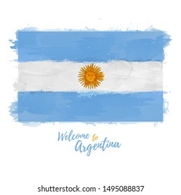 Welcome to Argentina banner. National flag of Argentine Republic in watercolor style design. Symbol and sign. Vector illustration