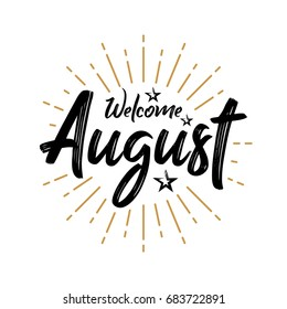 Welcome August - Firework - Vector for greeting, new month