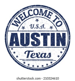 Welcome to Austin grunge rubber stamp on white background, vector illustration