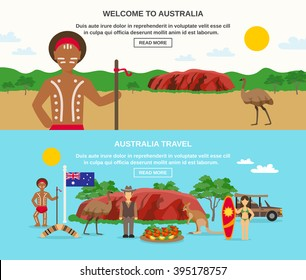 Welcome to australia banners with landscape seafood aborigine surfing animals and flag isolated vector illustration