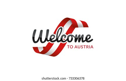 Welcome to Austria flag sign logo icon