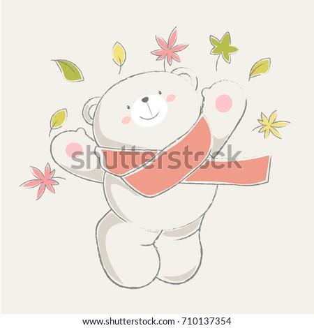 Cute bear jumping throwing dry leaves, pastel cartoon wallpaper