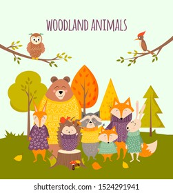 Welcome autumn greeting card with cute cartoon forest animals (fox, hedgehog, bear, squirrel, rabbit, racoon, owl, woodpecker ). Vector illustration template