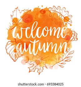 Welcome autumn on Watercolor imitation background leaves and berries wreath.