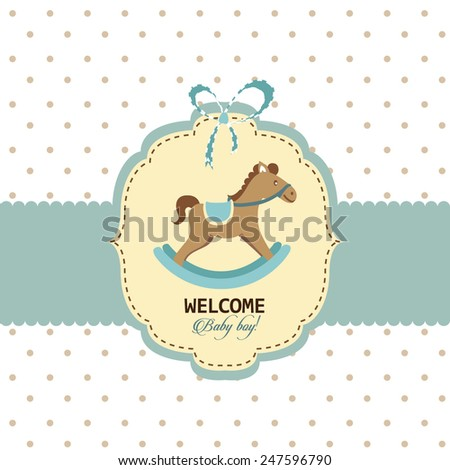 Welcome Baby Boy Greeting Card Template Stock Vector Royalty Free