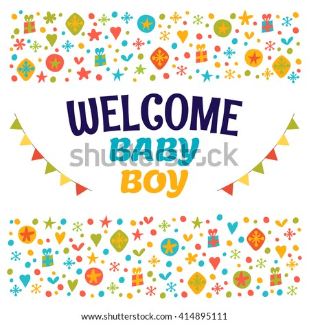 51dbc4fc7 Welcome Baby Boy Baby Boy Shower Stock Vector (Royalty Free ...
