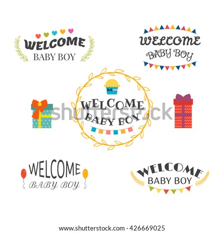 Welcome Baby Boy Baby Shower Design Stock Vector Royalty Free