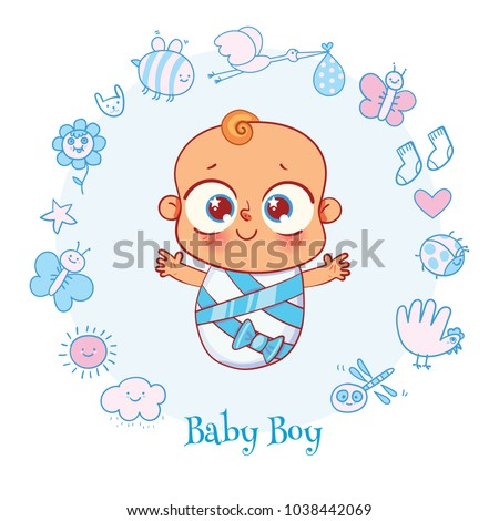 Welcome baby invite greeting card boy stock vector royalty free invite greeting card it is a boy happy birthday holiday filmwisefo