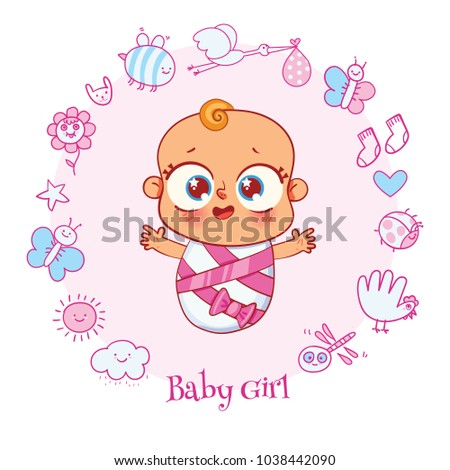 Welcome baby invite greeting card girl stock vector royalty free invite greeting card it is a girl happy birthday holiday filmwisefo