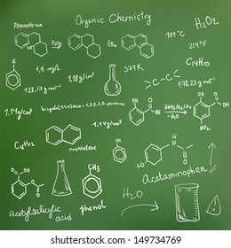 Welcome back to school background. Chemical formulas on green chalkboard