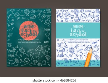 Welcome back to school background, with hand drawn doodle elements and realistic pencil. Vector template for flyer or poster, brochure design.