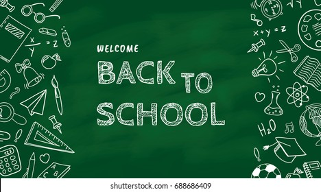 Welcome back to school background, vector illustration
