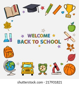 Welcome back to school background with:hat graduate,scroll, apple,book,flasks, basketball,alarm clock, backpack, school bus,globe,ruler,microscope