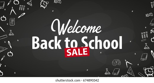 Welcome Back to School banner with different school objects. School sale banners and best offers