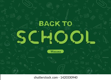 Welcome Back to school. Banner with set of doodle icons on green background. Concept for education. Vector illustration EPS10