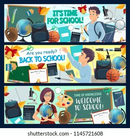 Welcome Back to School banners of student with education items and supplies. Teacher with book, globe and pencil, blackboard, bag and calculator, microscope, graduation diploma and scissors flyers