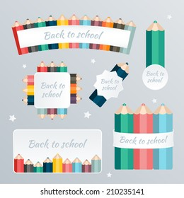 Welcome back to school. The blank web banner pattern set with crayon decoration. Vector illustration.