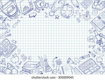 Welcome back to school card. Doodle pen drawn background. Vector illustration in notebook