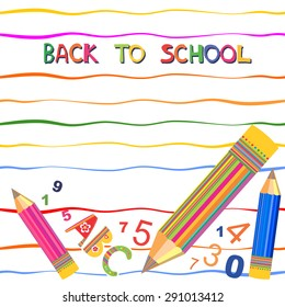 Welcome back to school card. Vector illustration.