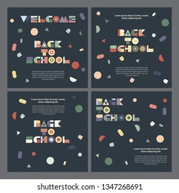 Welcome back to school cards templates, greetings set, universal, modern, geometry design