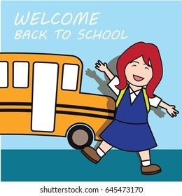 welcome back to school cartoon concept. vector illustration