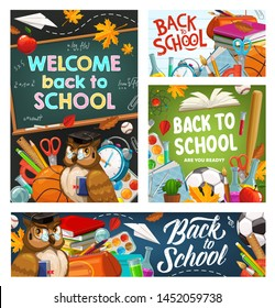 Welcome back to school or college invitations, stationery items and wise owl. Bird in teacher glasses, educational supplies and chalkboards. Start of studying, textbooks and pencils, balls and flasks
